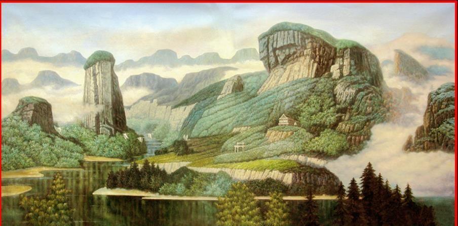 3D 입체파 벽지 녹색 산과 물 풍경 그림 벽화