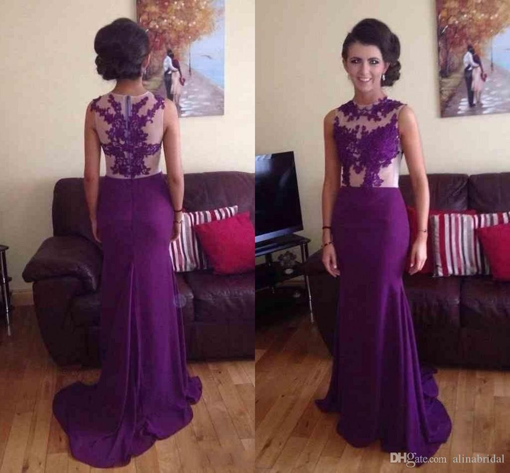 2015 viola sheer neck prom dresses con applique pizzo sweep treno mermaid party abito da sera abiti pagaid vestidos de fiesta