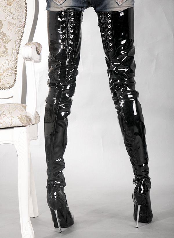 Wonderheel NA VENDA quente extremo salto alto 12 cm stiletto Calcanhar sobre o joelho botas de patas coxa alta botas botas de fetiche de metal salto fetiche de metal