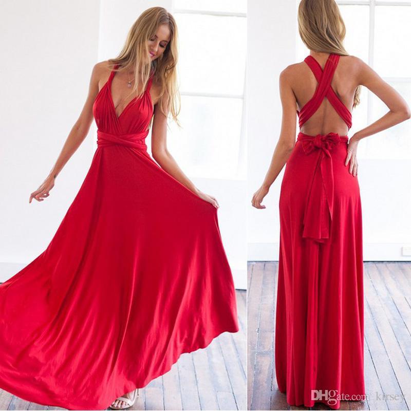 Großhandel Sexy Frauen Boho Maxi Club Kleid Rot Verband Lange Kleid ...