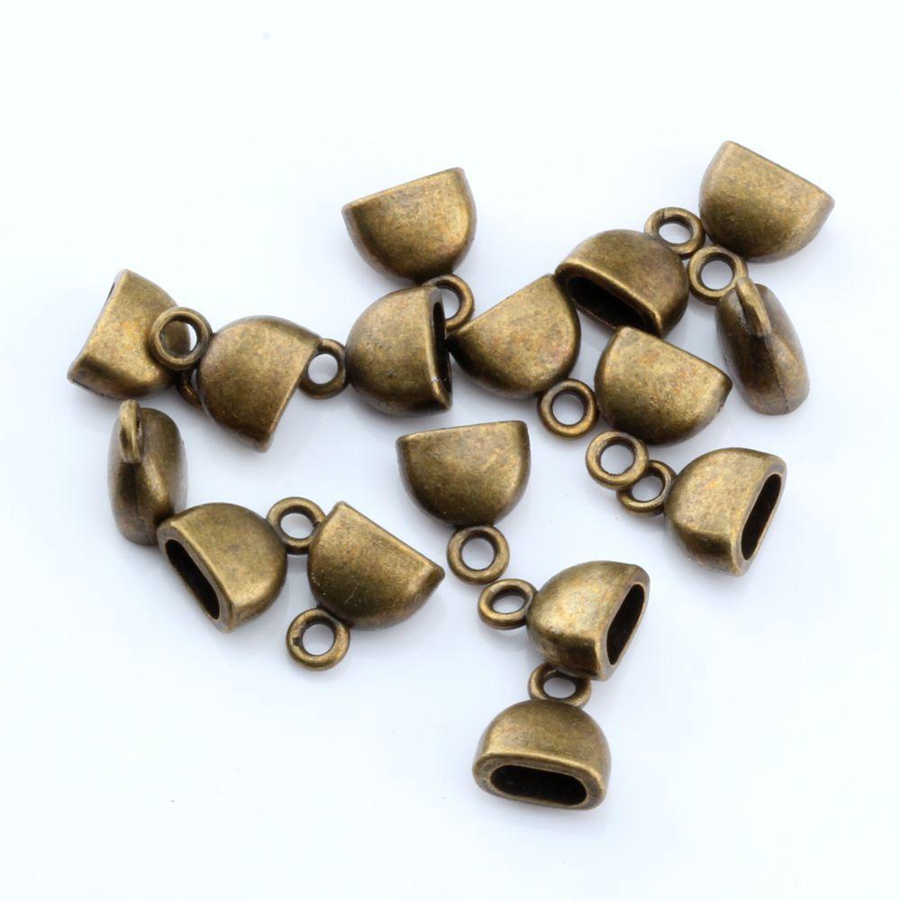 Caliente ! 100 UNIDS de Bronce Antiguo de Aleación de Zinc Taza Cup End Cap Tapón 10x13mm Joyería de DIY