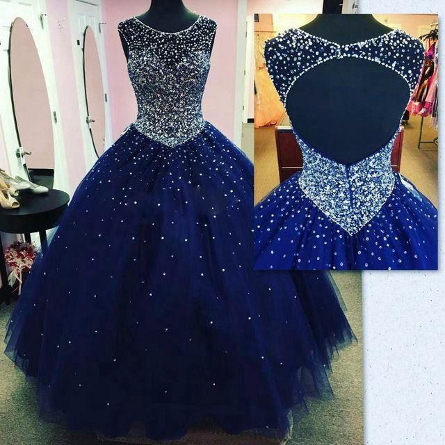 Modest Sparkly Dark Blue Prom Vestido Quinceanera Vestidos Masquerade 2019 Sheer Neck Open Back Bling Cristal Pageant Vestidos Para Doce 16