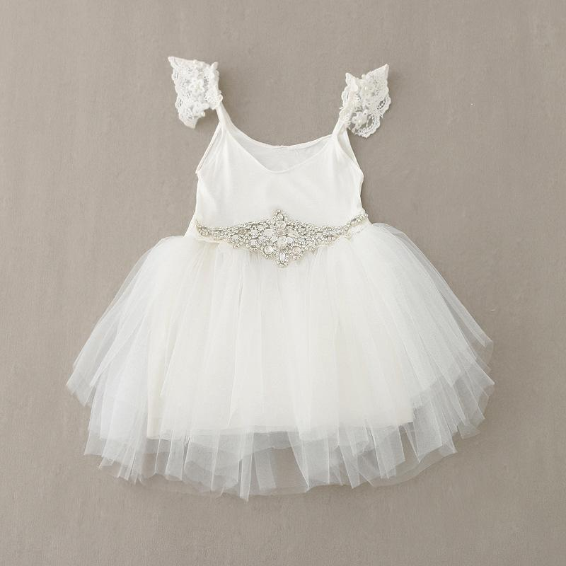 New Lace princess dresses for Girls Sequin Tulle white dresses for girls Korean Children Tutu Dress girl dress Kids Party Dress