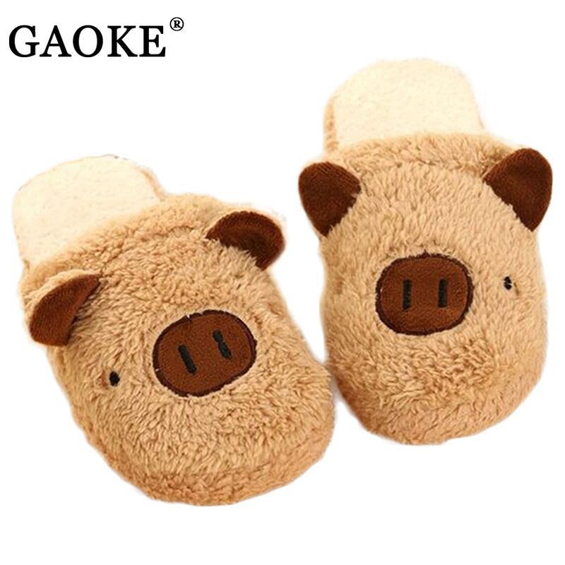 Winter Slippers Women Warm Slippers Unisex Indoor Home Shoes Cotton Slipper Lovely Pig Home Floor Soft Stripe Animal Slippers