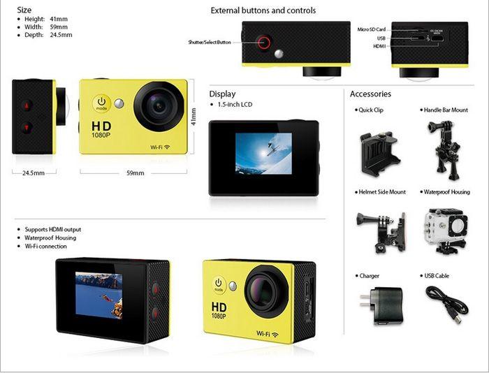 SJ6000 W9 Gopro Sport DV-Kameras Wifi-Action-Kamera Wireless Video Recorder 2.0 Zoll 1080P 170 Weitwinkel-Auto-DVR 30M wasserdicht