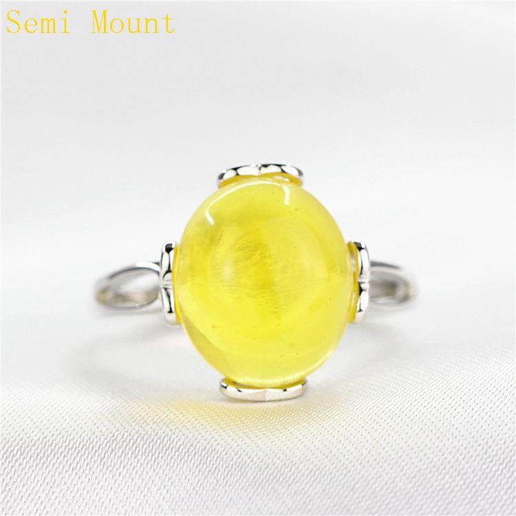 925 Sterling Silber Semi Mount Ring Weißgold für 10x12mm Oval Cabochon Bernstein Achat Türkis Edlen Schmuck Einstellung DIY Stein