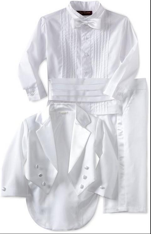 New boy formal wear white tuxedo suits boy weddings the best man for the boy's formal occasion coat + pants + + shirt waist sealing + tie