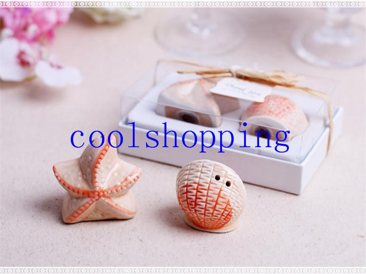Wedding favors gifts ceramics Sea shell and Starfish Salt and Pepper Shakers