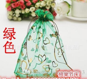 شحن مجاني 100 قطع 7x9 سنتيمتر الأحمر القلب مجوهرات هدية الأورجانزا حقيبة هدية حقيبة الحقيبة ل تغليف المجوهرات drawable أكياس هدية الزفاف