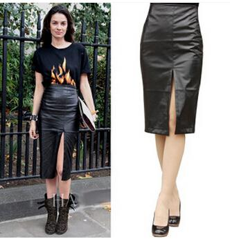 2017 New Women Black Faux Leather Pencil Skirt High Waist Sexy ...