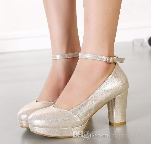 Sparkly Wedding Shoes Pumps Thick Heel Ankle Strap Bridesmaid Silver Gold 8cm White Size 34 To 39 Wx Pearl Bridal Perditas
