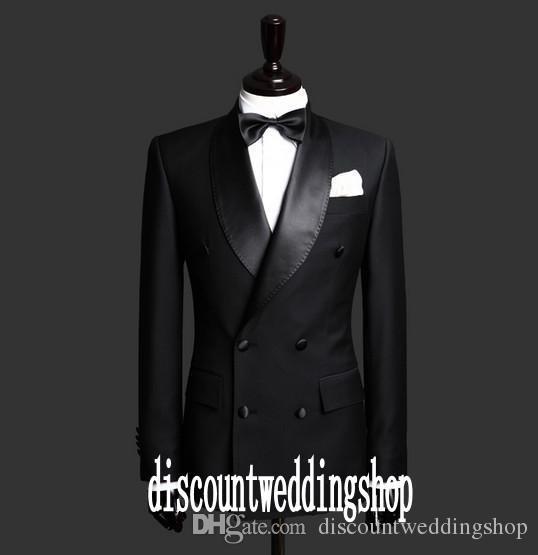 Spalline laterali doppio petto Smoking dello sposo nero Scial risvolto Groomsmen Best Man Abiti da uomo Matrimonio Prom giacca + pantaloni + cintura + cravatta NO: 2599