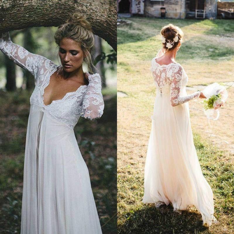 f8e944a0c1de Discount Lace Maternity Wedding Dresses With Empire Waist Floor Length  Chiffon Long Sleeves Plus Size Bridal Dresses Sexy Beach Wedding Gowns 2015  Wedding ...