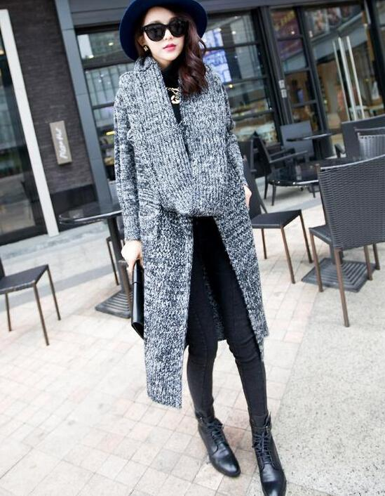 Women Winter Coats 2016 Korean Loose Plus Long Cardigan Sweaters with Knitted Wool Scarves V-Neck Long Sleeve Sweaters for Women