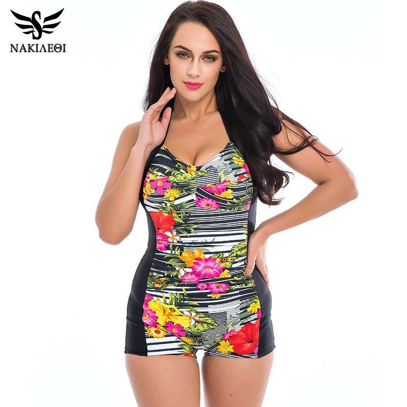 4287c55918cd7 2019 Wholesale NAKIAEOI One Piece Swimsuit 2017 Plus Size Swimwear Women  Vintage Print Polka Dot 60S Unique Bathing Suits Beach Wear Swim From  Berniee