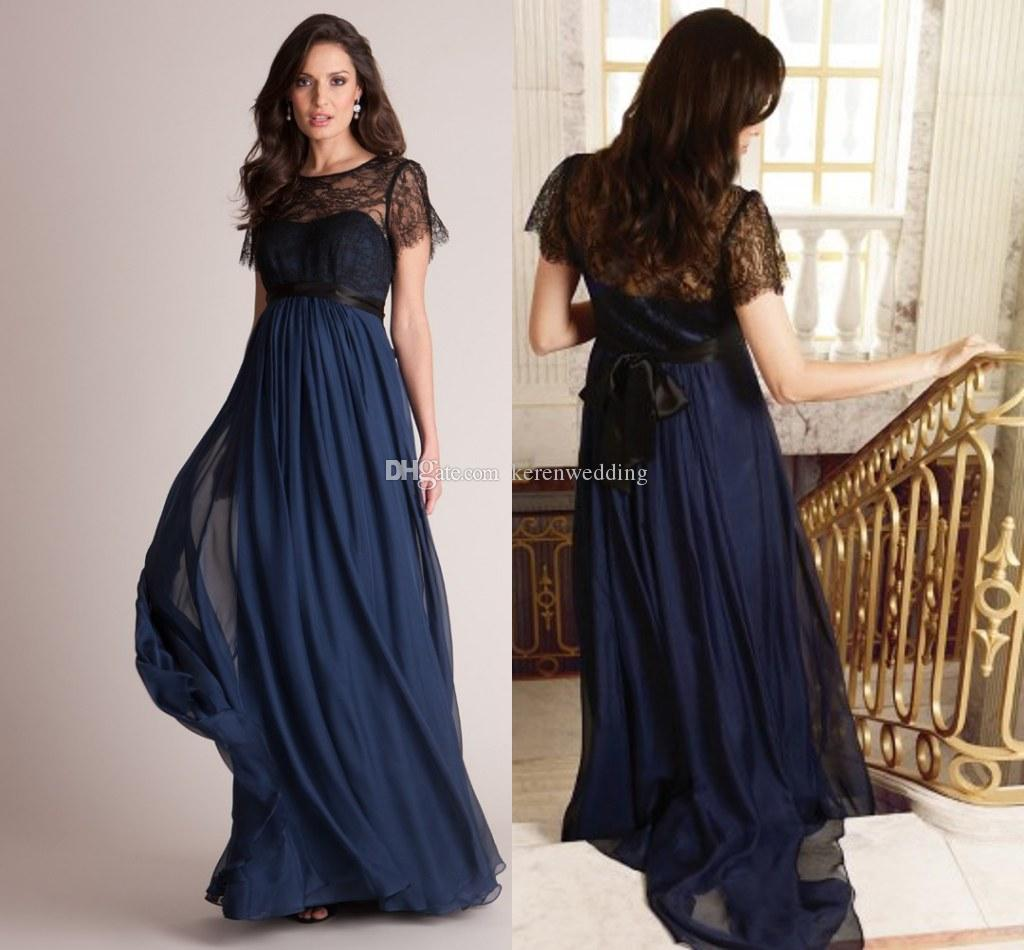 Navy Blue Chiffon Maternity Evening Dresses With Black Sash Sheer ...