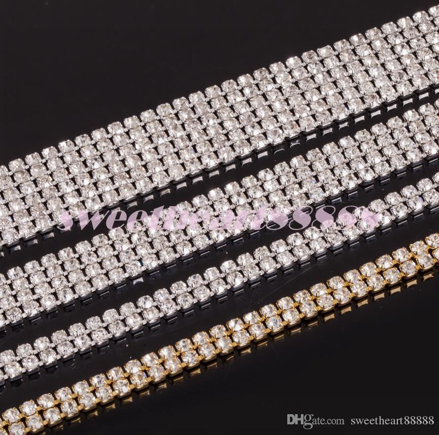 Mic Hot Sell 4 Rangées 1 Yard Diamante Strass Strass Banding Garniture Cake Decoration Fournitures de mariage