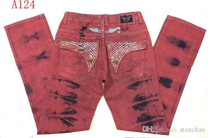 Mens Robin Rock Revival Jeans Crystal Studs Denim Pants Designer Trousers Men's size 30-42 New