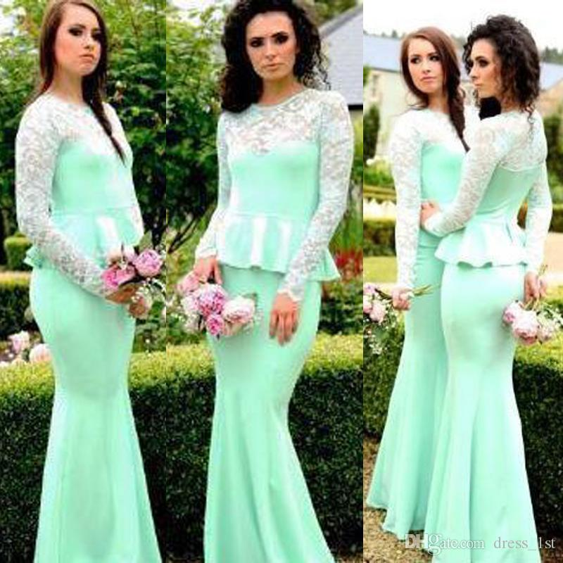 2017 Mint Green Chiffon Mermaid Bridesmaid Dresses Long Cheap Crew Illusion Long Sleeve With Peplum Maid Of Honor Gowns Custom Made EN11219