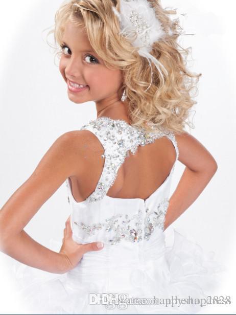 Girl's Pageant Abiti T Ritzee Glitzy Bambini Fiore Festa Festa Dress Prom Abiti da ballo Abito quadrato Piano-lunghezza 2019 Estate Nuovo arrivo