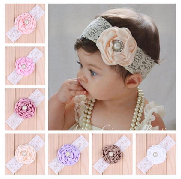 Infant Children Flower Pearl Headbands Girl Lace Headwear Photography Props Kids Baby Adorable Hair Accessories Pretty Baby Hair bands 10824
