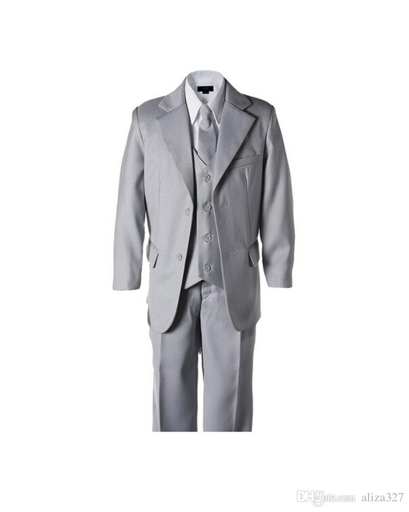 New style little boy suits formal occasion boy tuxedos fashion contracted two button pure color boy suits for weddingjacket+pants+vest+tie