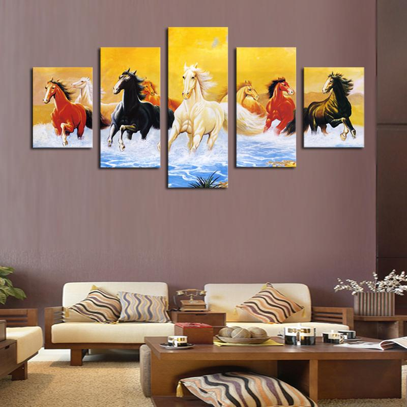 2017 5 Panel Living Room Decor Horses Painting Colorful Horse ...