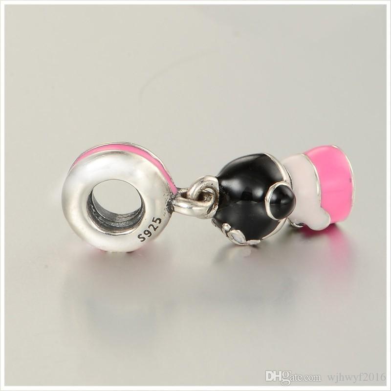 New Mixed Enamel Korean Doll Charm Pendants 925 Sterling Silver Pink Doll Charms Diy Travel Fine Jewelry Fits Pandora Bracelet Making