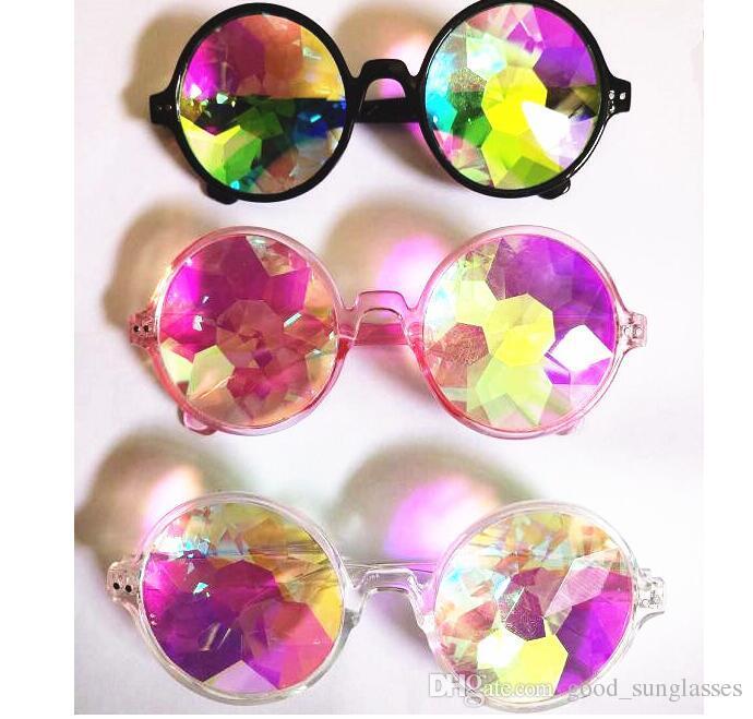 0be0a07dcf Compre MUJERES Gafas De Caleidoscopio De Moda Geométrica Rainbow Rave Lente  Bling Bling Prisma Cristal Gafas De Sol De Difracción KKA3280 A $6.16 Del  ...
