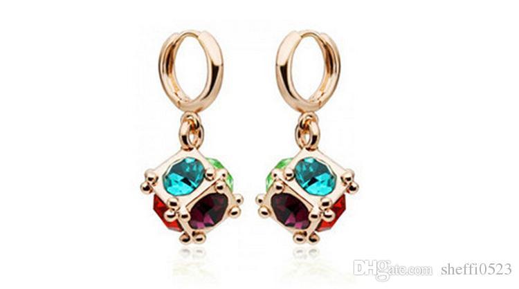 Square Love Window Earrings Love Magic Stud Earrings For Women Best Gift Fashion Crystal Earrings Jewelry 8022