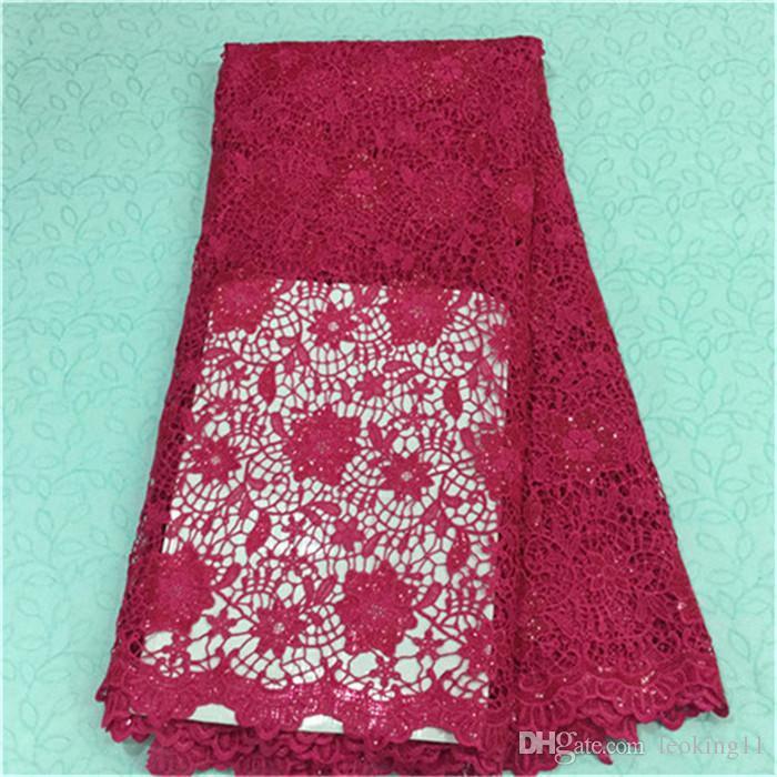 Cordón francés del guipur de lujo del diseño floral de la flor con la tela soluble en agua del cordón de las lentejuelas africano para el partido BW43-2,5yards / pc