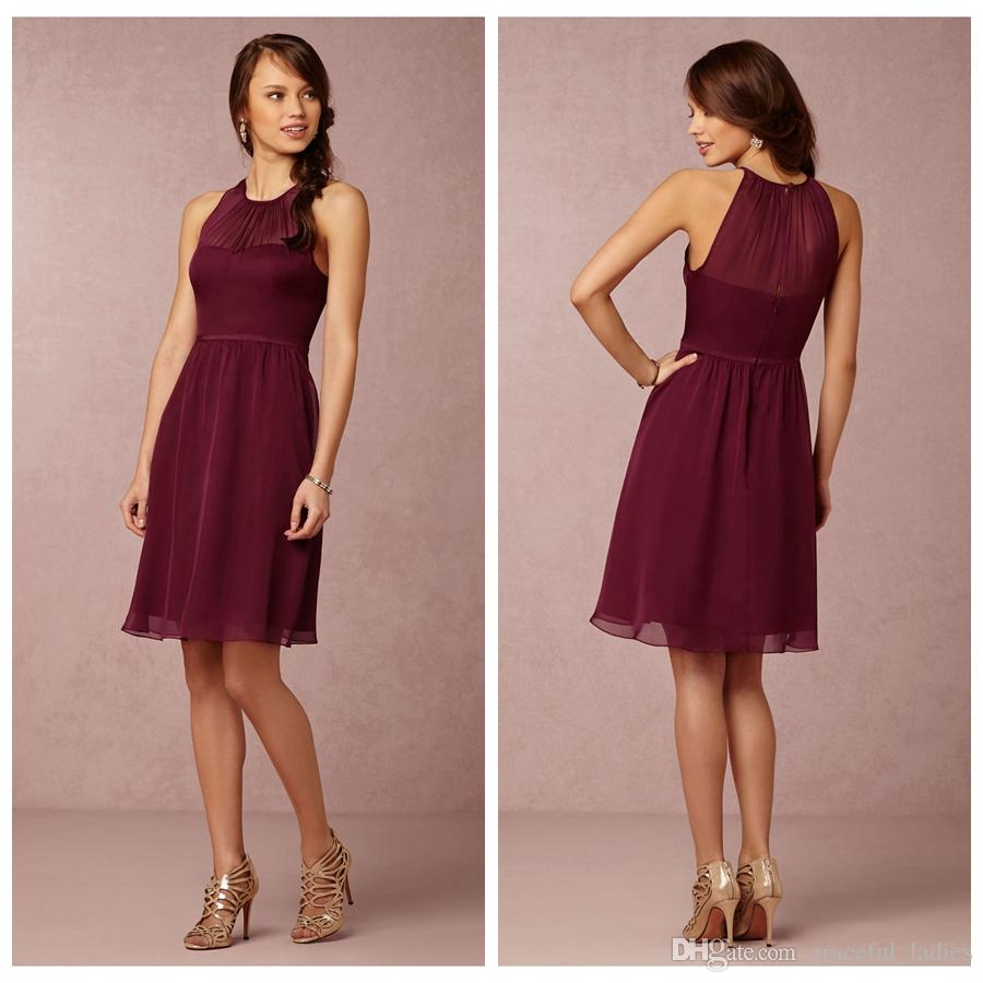 Black cherry short chiffon bridesmaid dresses knee length crew see larger image ombrellifo Choice Image