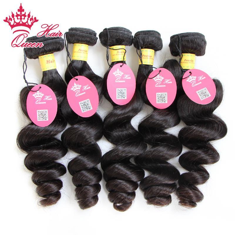 Queen Hair Products 100% Onverwerkte Maagd Haar 5 Stks Peruviaanse Losse Wave Inslag 12 - 28 In onze voorraad DHL verzending