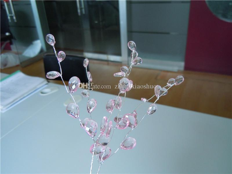 Wholesale 50 bunches elegant bombonieres wedding favor-TEARDROP JEWEL CRYSTAL pick flower spray,crystal garland crafts supply