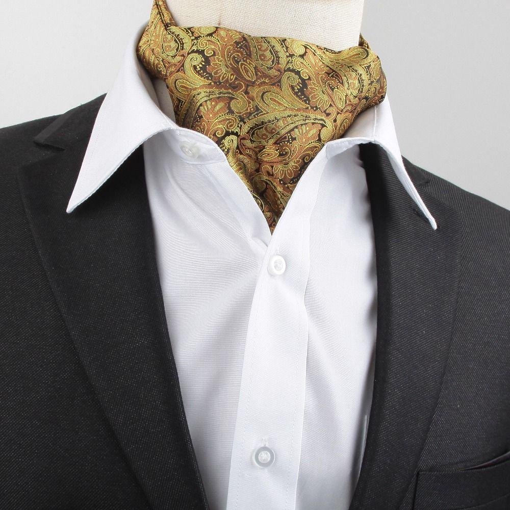 New Men Vintage Wedding Formal Brand Name Cravat Ascot Scrunch Self