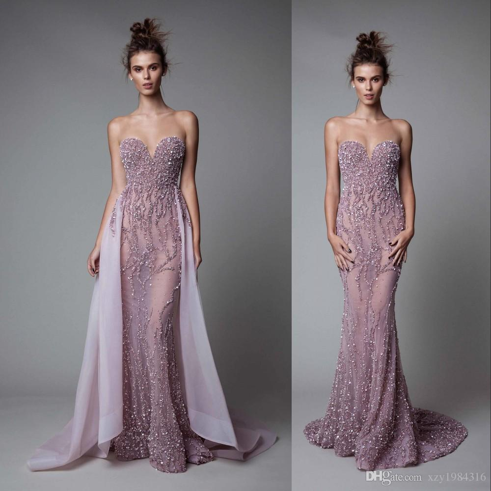 Glittering See Through Evening Gown With Over Skirt Sweetheart Sequins  Beaded Backless Mermaid Evening Dresses Amazing Sexy Prom Dresses Black  Evening Maxi ... 9e357e5ba
