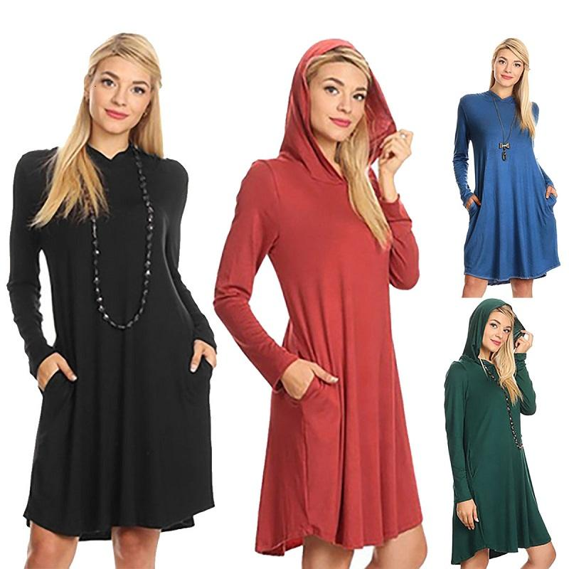 651870c298 Fashion Women Casual Dresses Winter Lady Shirt Dresses Round Neck ...