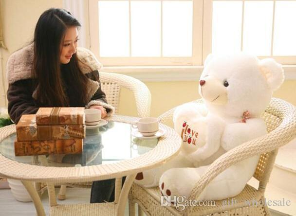 27.5inch/70cm White Beige Giant Big Plush Teddy Bear Soft Gift with I LOVE YOU letters for Valentine Day Birthday