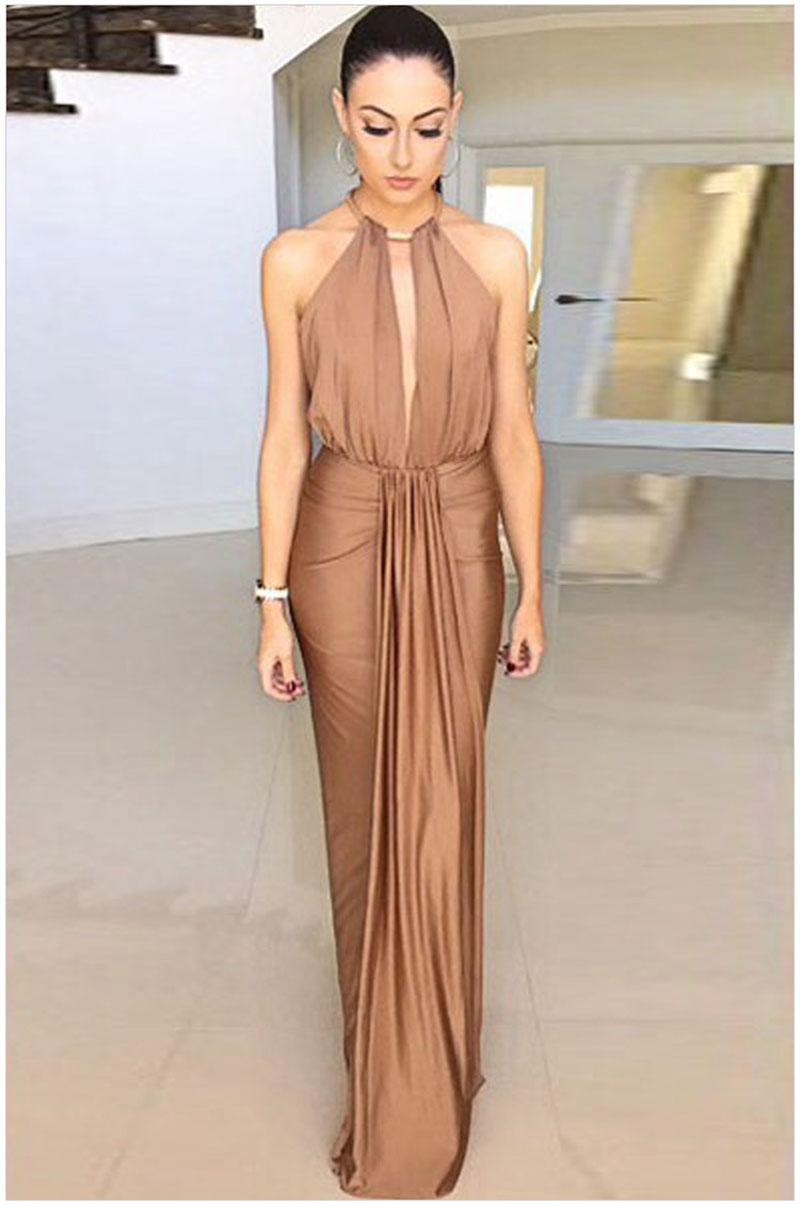 2015 new high waist camel hair gem backless halter deep v dress