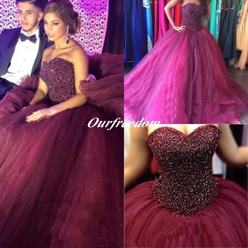 f7764553811 Burgundy Pufly Ball Gown Quinceanera Dresses 2016 Sweetheart Heavy  Rhinestone Crystal Long Arabic Formal Prom Party Gown Custom Made New  Design Your Own ...