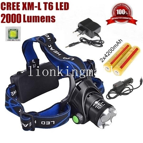 AloneFire HP79 CREE XM-L XML T6 LED 2000 lúmenes zoom Linterna frontal recargable LED + 2x18650 / cargador / cargador de automóvil