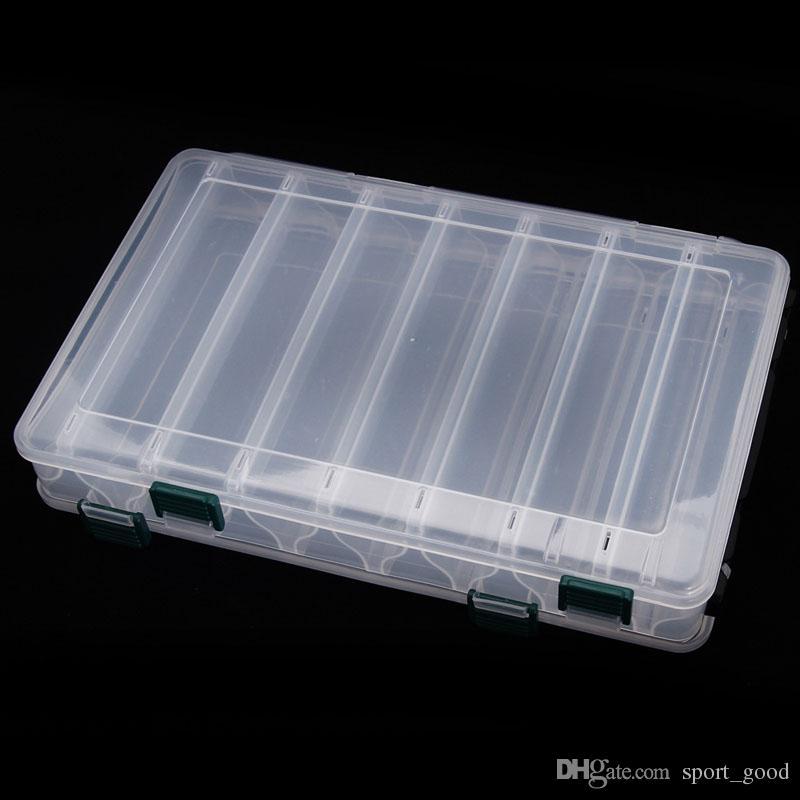 Grande dupla face Lure Fishing transparente de armazenamento caixa Isca Hooks Combater Waterproof Case Armazenamento Organizer recipiente plástico portátil