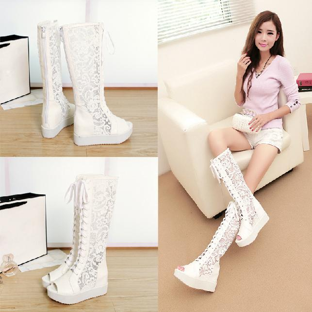 In Stock Hot Luxury White High Heel Lace Up Wedding Shoes Boots Bridals Accessories Dress Flat