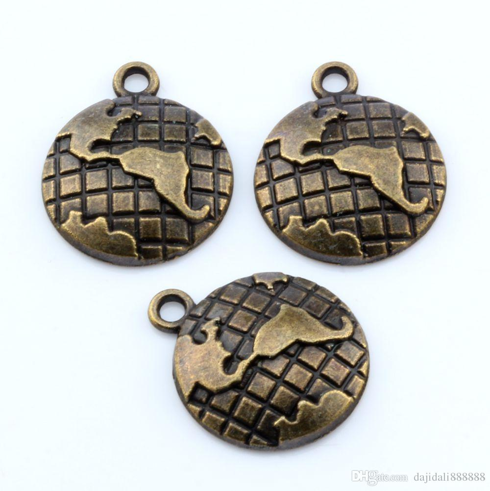 Hot ! Antique Bronze Zinc alloy Earth Map Globe Charm pendants 20x24mm DIY Jewelry