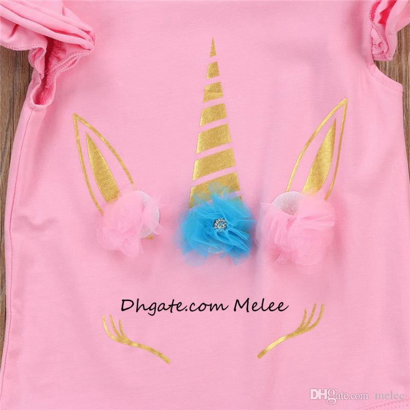 INS Unicorn Baby Mädchen Strampler Baumwolle Kinder Overall rosa weiß lange Kurzarm Body Suit Rüschen Ärmel niedlichen Mädchen Kleinkind Strampler Anzüge