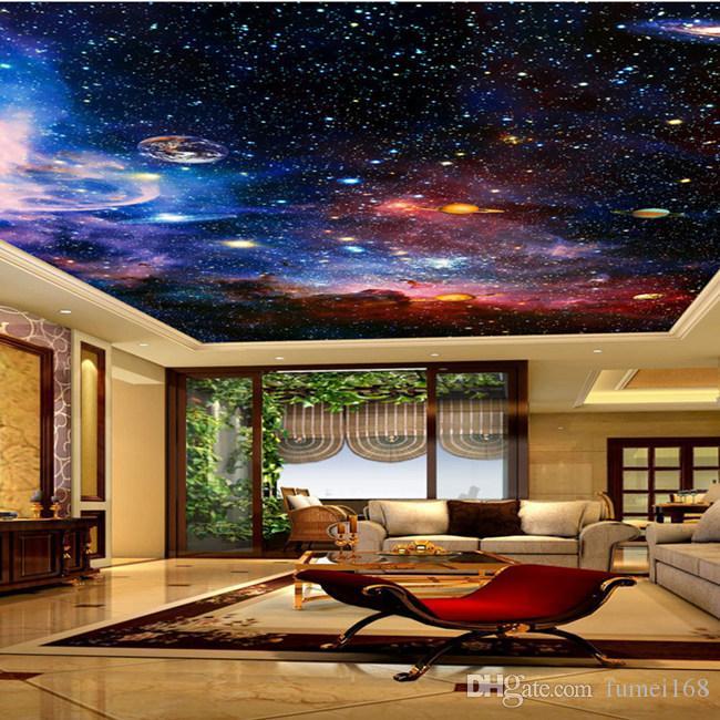 사용자 정의 벽화 3D 스타 성운 밤 하늘 벽 그림 천장 천연두 벽지 침실 TV 배경 갤럭시 테마 월페이퍼