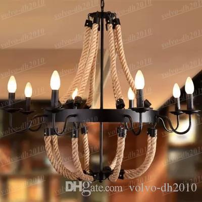 Американская сельская местность шпагат старинные кованые люстры столовая бар. Творческий пеньковый канат черный / ржавчины цвет лампы E14 LLFA4762F