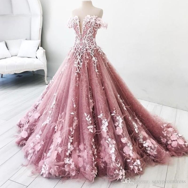 Charming Off The Shoulder Prom Dresses 2018 Flora Appliques A Line Evening  Gowns Sweep Train Saudi Arabic Formal Party Vestidos Prom Dress Wholesale  Prom ... 2b166046b1ce