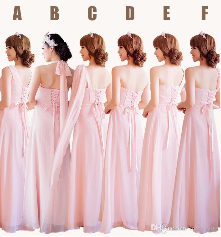 Elegante Mischung 6 Style Real Fotos Chiffon Schatz trägerlosen Rüschen A-Linie Brautjungfernkleider Abendkleider nach Maß unter $ 50