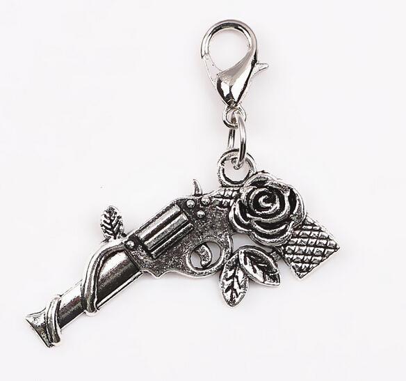 / Argent Rose Fleur Gun Floating Dangle Pendentif Charms avec fermoir mousqueton fit Pour Verre Mémoire Médaillon Collier Faire